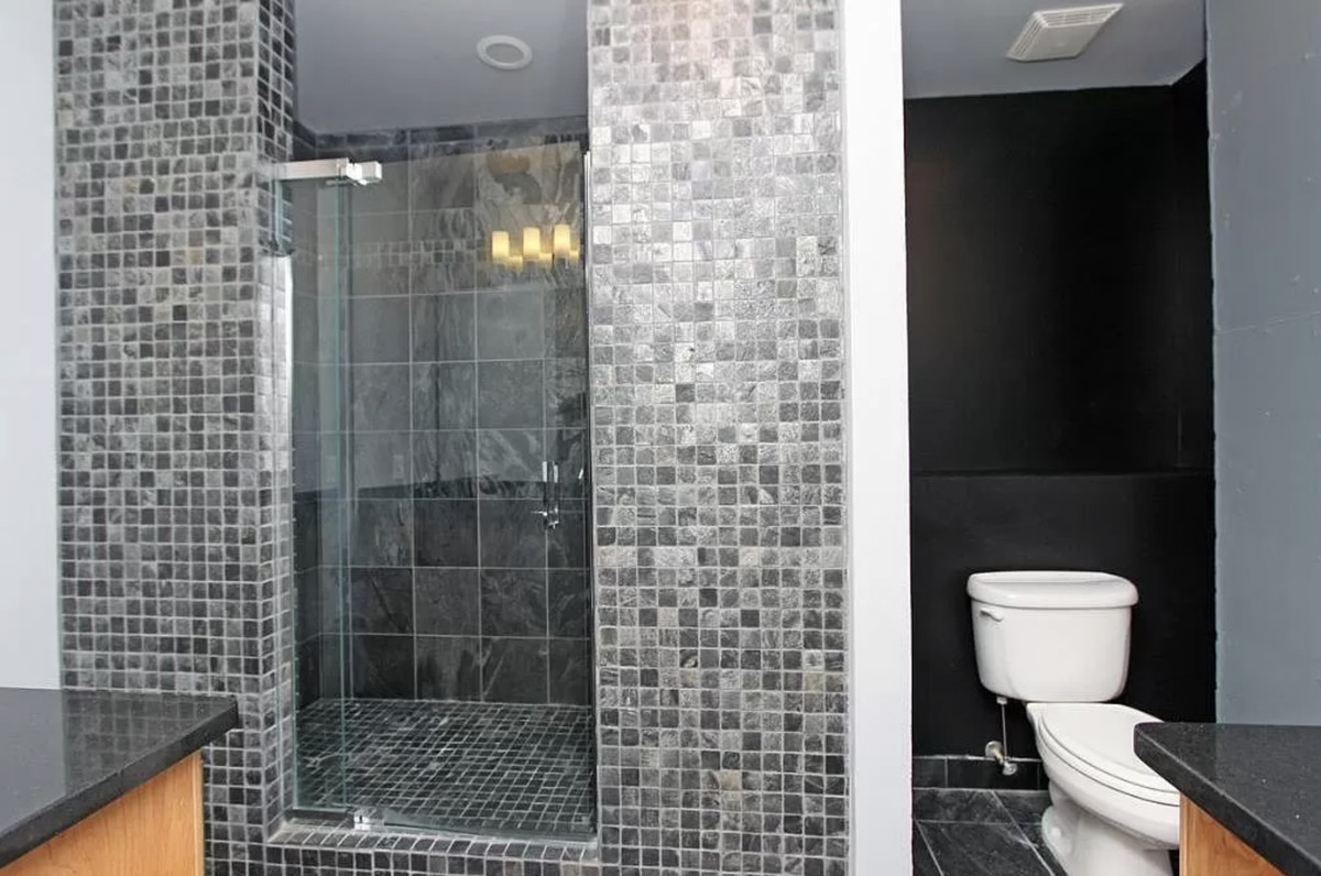 Bathroom with large tiled shower and toilet to the right.l