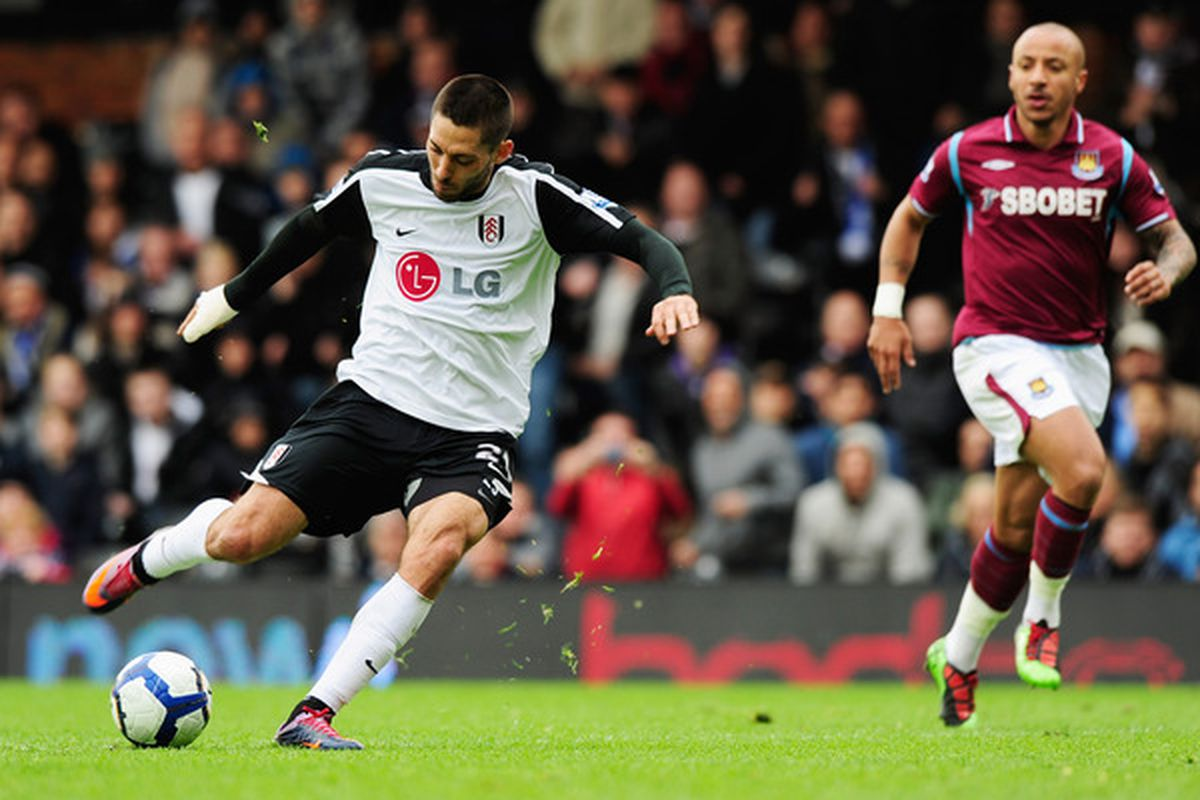 LONDON, ENGLAND - MAY 02:  Clint Dempsey of Fulham scores their first goal during the Barclays Premier League match between Fulham and West Ham United at Craven Cottage on May 2, 2010 in London, England.  (Photo by Jamie McDonald/Getty Images)