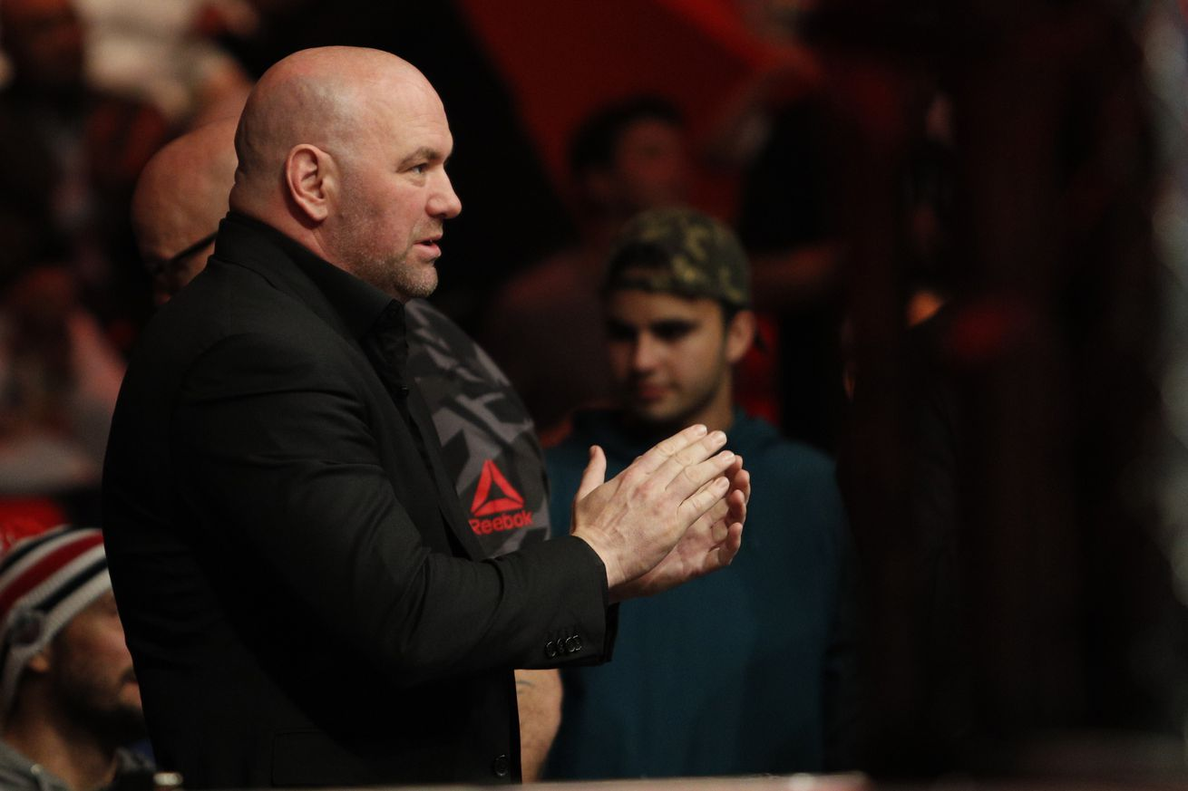 Dec 2, 2017; Detroit, MI, USA; President of the UFC Dana White is seen during the fight between Eddie Alverez and Justin Gaethje during UFC 218 at Little Caesars Arena. Mandatory Credit: Raj Mehta-USA TODAY Sports