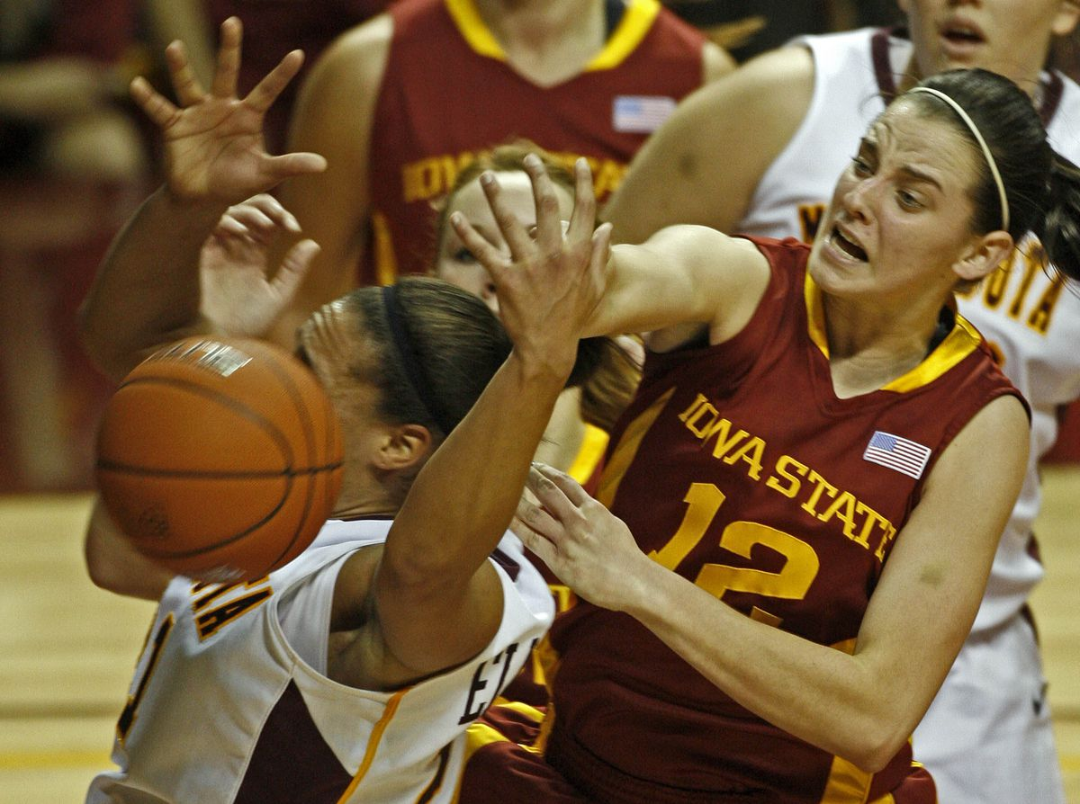 MARLIN LEVISON * mlevison@startribune.com Assign. #20010302G - December 13, 2009] GENERAL INFORMATION: Gophers womens basketball vs. Iowa State. IN THIS PHOTO: Gophers Ashley Ellis-Milan, left was stripped of the ball by Iowa State'sJessica Schroll (12