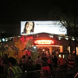 In front of Superior Seafood, near the start of the uptown parade route.