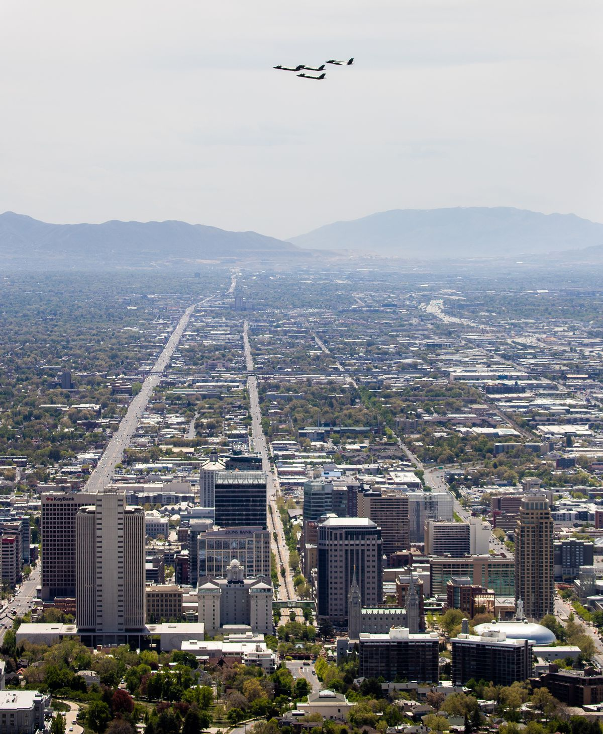 The Air Force F-35A Lightning II demonstration team performs a flyover above Salt Lake City, on a path covering a large swath of the state, to salute front-line COVID-19 workers on Thursday, April 30, 2020.