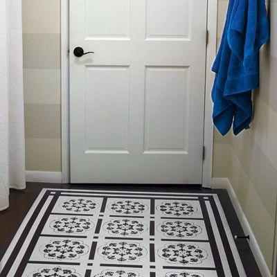New Bathroom Remodel Painted Floor