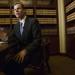 Utah Attorney General John Swallow speaks out Monday, Jan. 14, 2013, in his office at the state Capitol about allegations that he brokered a deal to stifle a federal probe into a St. George businessman.