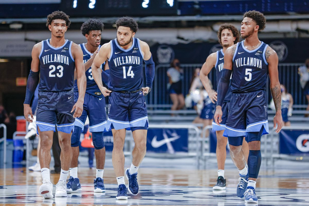 Members of the Villanova Wildcats are seen during the game against the Butler Bulldogs at Hinkle Fieldhouse on February 28, 2021 in Indianapolis, Indiana.