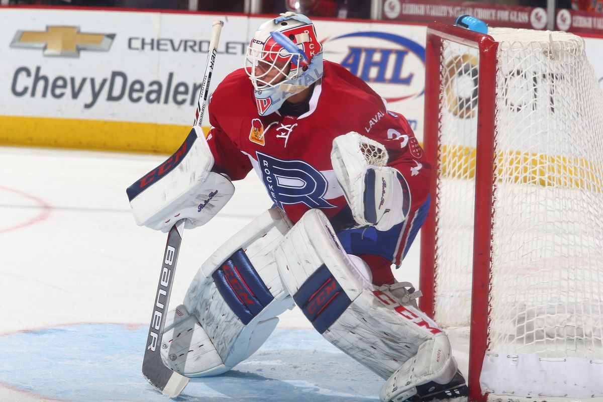Michael McNiven guards the goal for the Laval Rocket