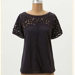 """<a href=""""http://www.anthropologie.com/anthro/product/shopsale-tops/24256687.jsp"""">Lace Topped Tee</a> $19.95, was $68"""