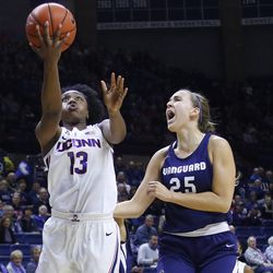 The Vanguard Lions take on the UConn Huskies in a women's college basketball exhibition game at Gampel Pavilion in Storrs, CT on November 4, 2018