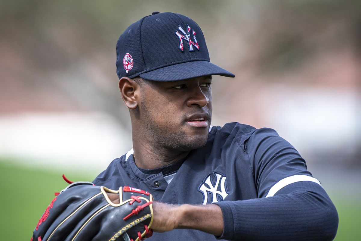 Yankees right hander Luis Severino warming up his arm in spring training