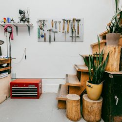 With metal and tools all around, I love to keep plants in the studio and in my home to add a bit of color and life. The studio has beautiful natural lighting and amazing windows that overlook Greenpoint. It's hard not to stop at a plant store on my walk f