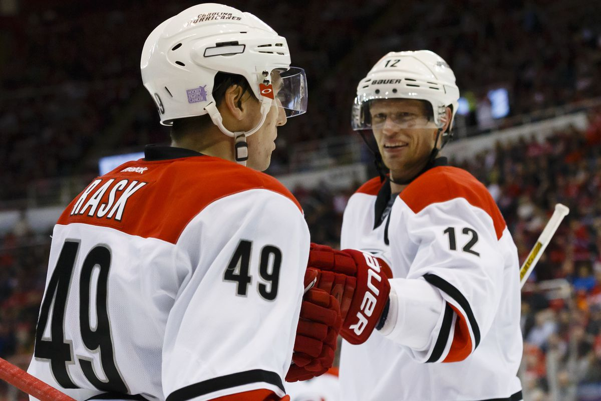 Eric Staal congratulates Victor Rask after Rask scores in Detroit