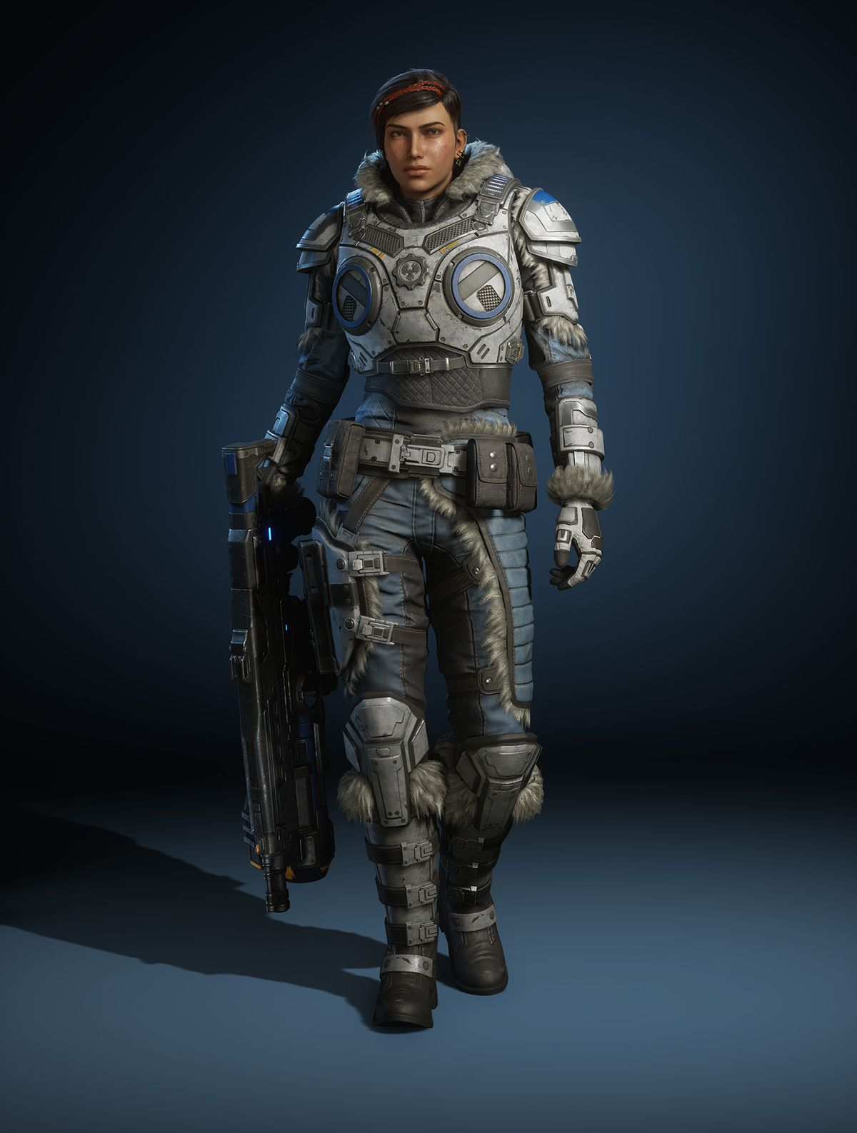 a render of the Gears 5 character Kait Diaz in a winter outfit holding a gun at her side