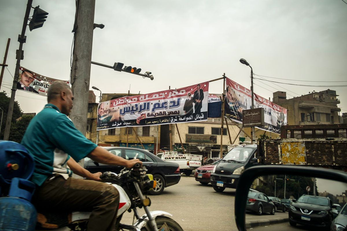 An election campaign banner endorsing Egyptian President Abdel Fattah El Sisi seen in Cairo, Egypt, on February 21, 2018.