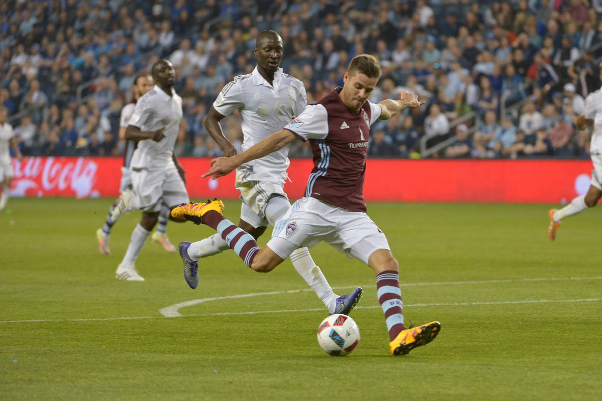 Solignac scores a goal in the first half vs Sporting KC.