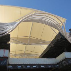 A closeup of the canopy that will cool off this two-level shopping district.