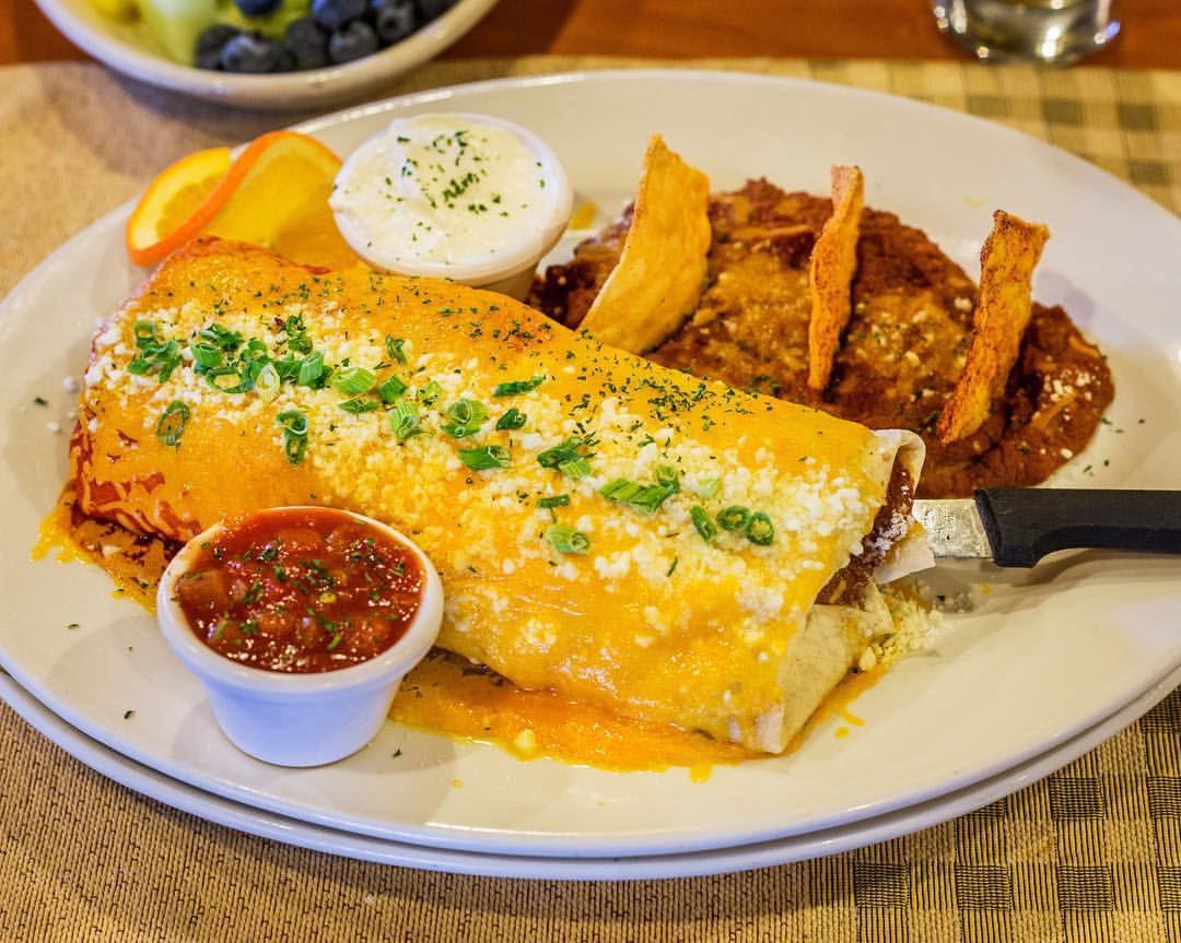 A breakfast burrito at Rise & Shine