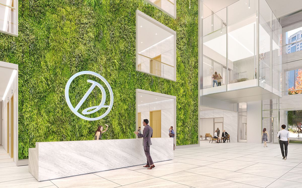 A rendering shows a renewed lobby space with white marble and apparently foliage covering the wall behind the reception desk.