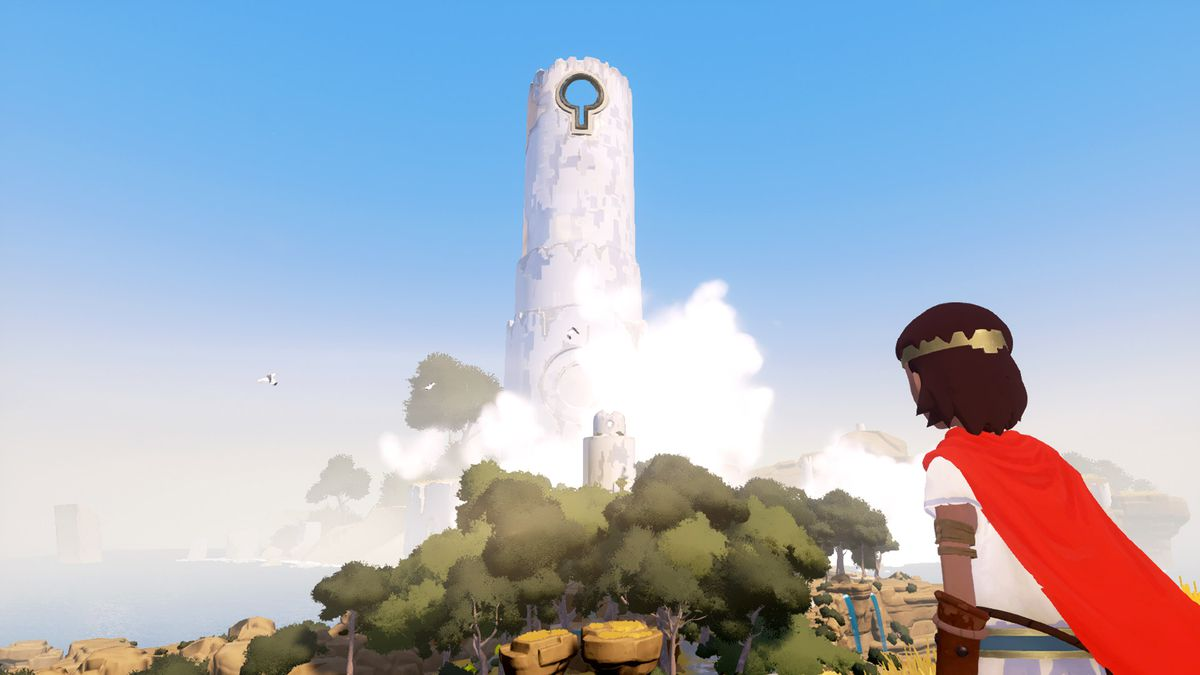 Rime - boy looking at tower