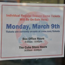 These are the hours for ticket sales at the Cubs Store -