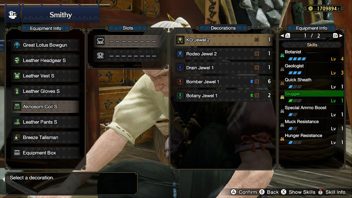 Setting decorations in Monster Hunter Rise