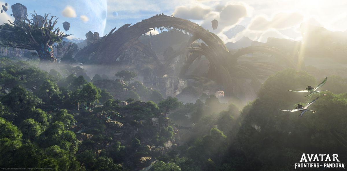 A bright, sunny day for the Na'vi as their wild, floating landscape unfolds before a pair in flight.
