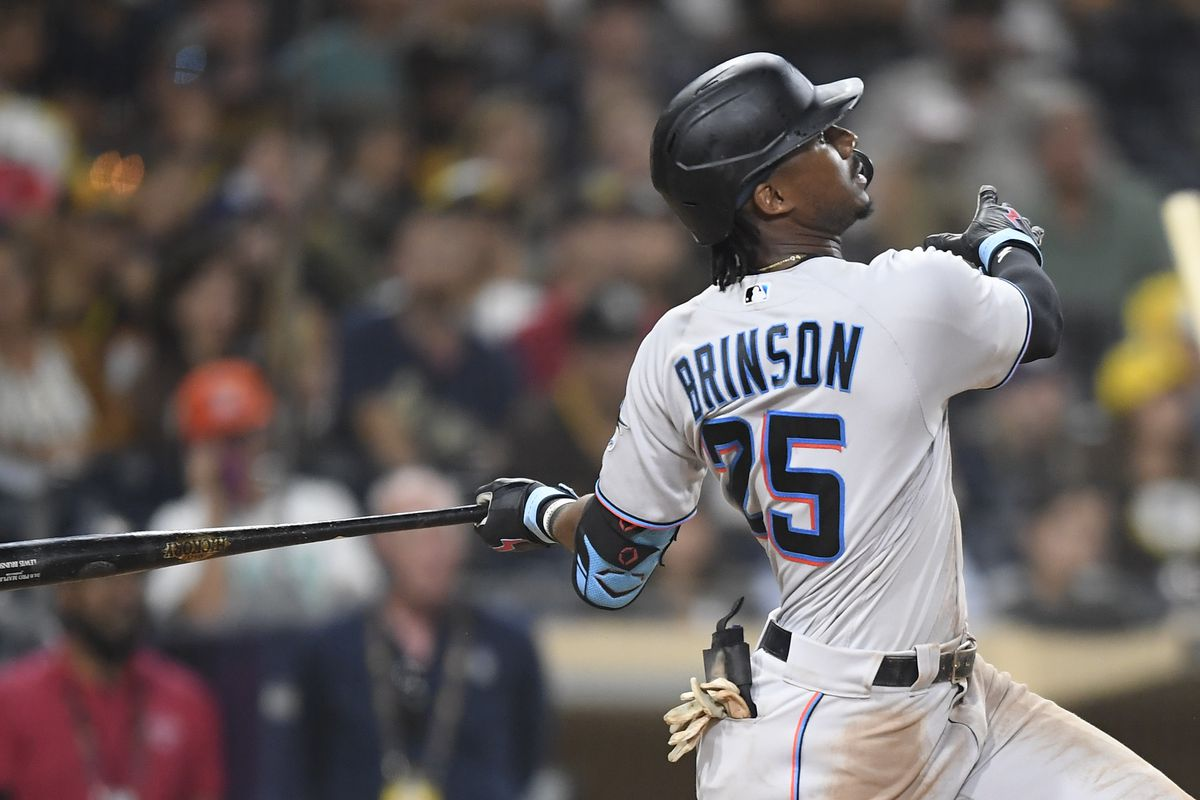 Lewis Brinson #25 of the Miami Marlins hits a two-run home run during the eighth inning of a baseball game against the San Diego Padres at Petco Park