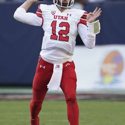 Utah quarterback Charlie Brewer (12) throws during the first half of an NCAA college football game against San Diego State Saturday, Sept. 18, 2021, in Carson, Calif.