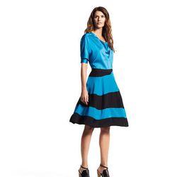 Tab collared tunic, $48; Asymmetrical seam skirt, $54