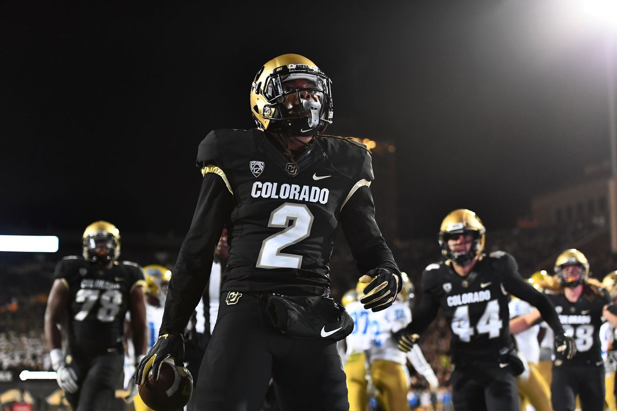 Colorado Buffaloes wide receiver Laviska Shenault Jr. celebrates his one yard touchdown carry in the third quarter against the UCLA Bruins at Folsom Field.