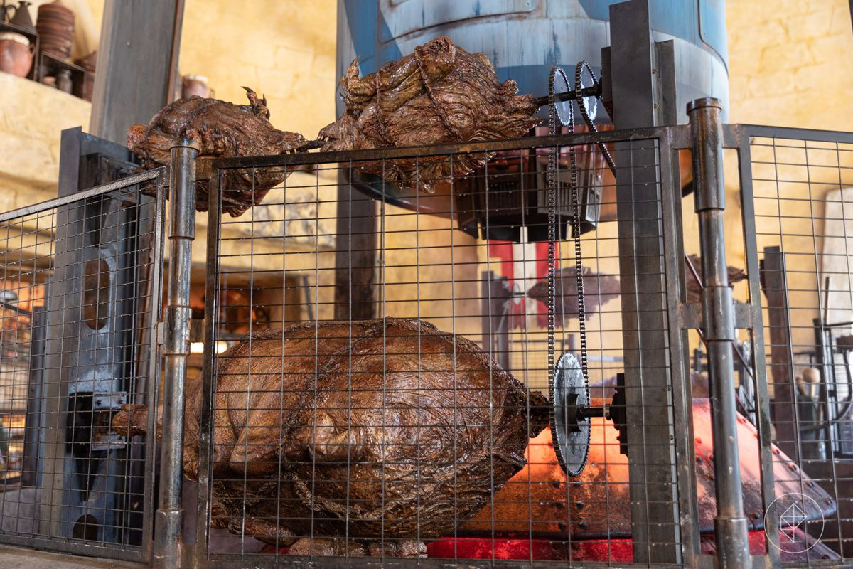 Spit-roasted ronto at Galaxy's Edge in Anaheim, California on opening day in 2019. Galaxy's Edge