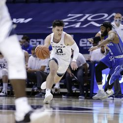 BYU's Alex Barcello (13) drives the basket during a doubles 86-61 win over New Orleans Privateers at Provo's Marriott Center on Thursday, November 26, 2020.