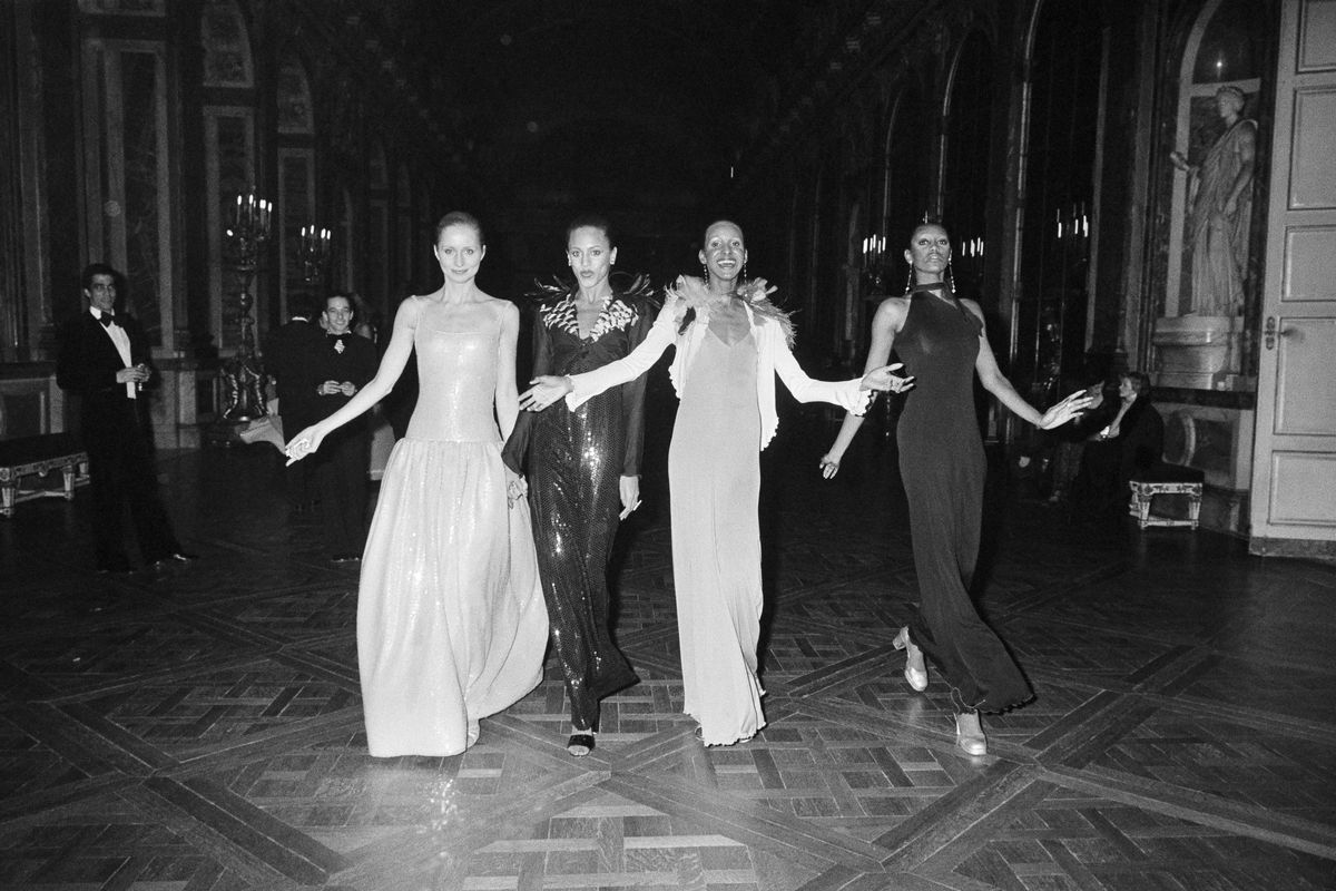 Four models at the 1973 Battle of Versailles fashion show.