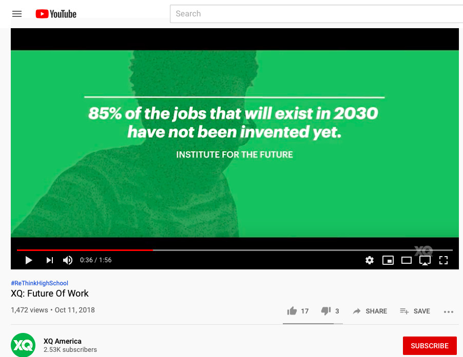 An image from an XQ video on the future of work. The video was taken down from XQ's YouTube page after Chalkbeat inquired about the veracity of the statistic.