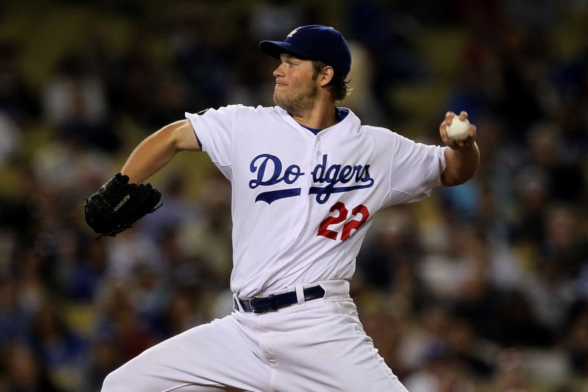 LOS ANGELES, CA - JUNE 20:  Clayton Kershaw #22 of the Los Angeles Dodgers thorws a pitch against the Detroit Tigers on June 20, 2011 at Dodger Stadium in Los Angeles, California.  (Photo by Stephen Dunn/Getty Images)