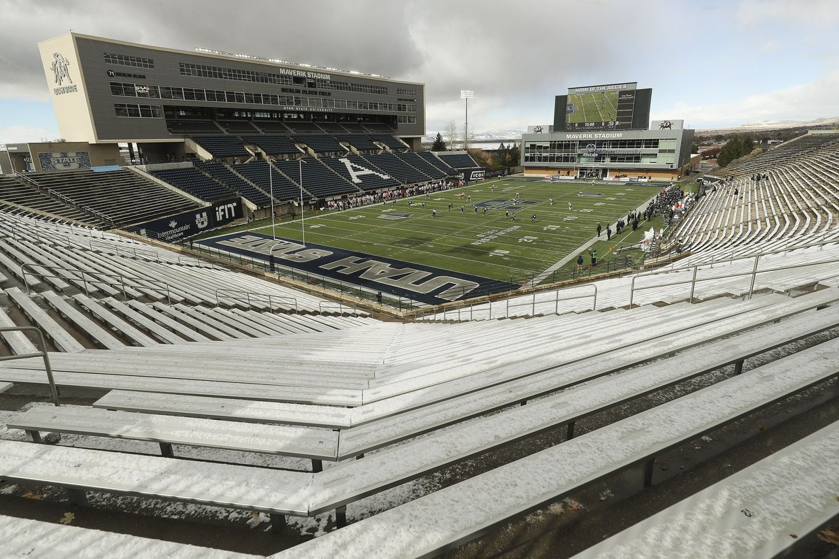 The Utah State Aggies and Fresno State Bulldogs play without a crowd due to COVID-19 in Logan on Saturday, Nov. 14, 2020.