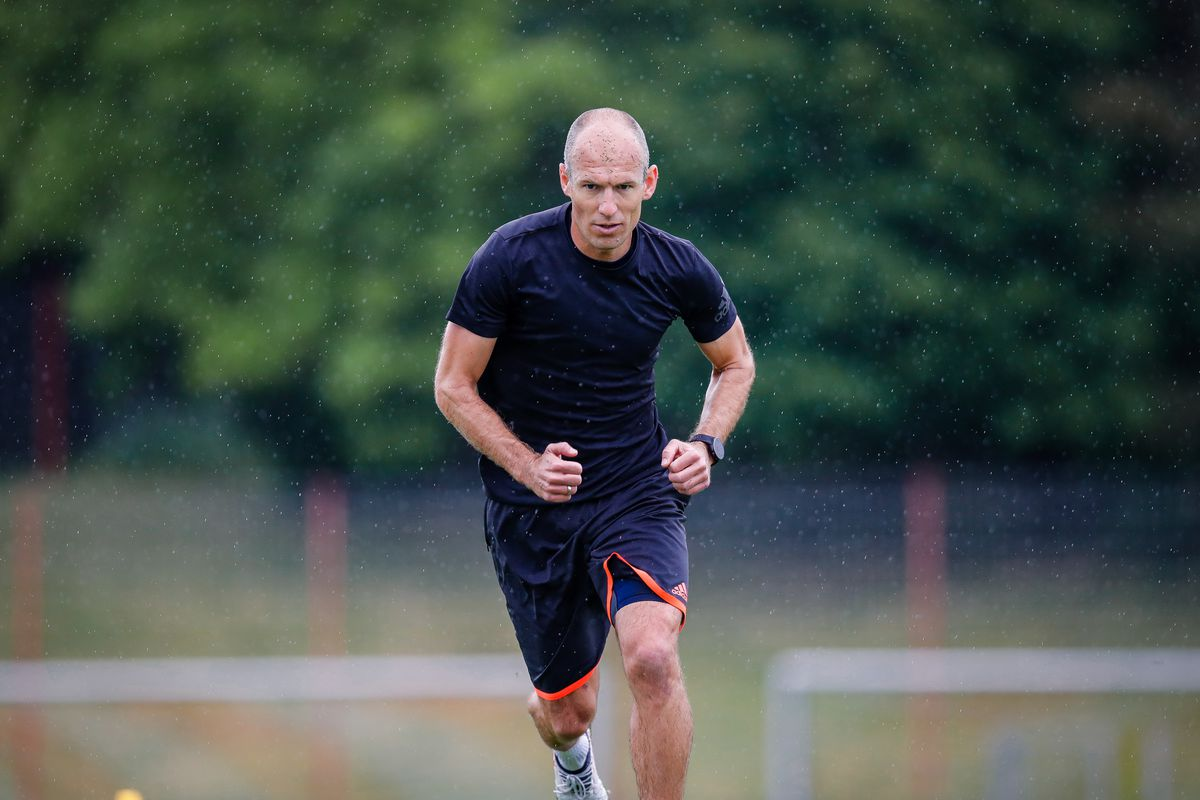 Arjen Robben Visits A Bayern Muenchen Training