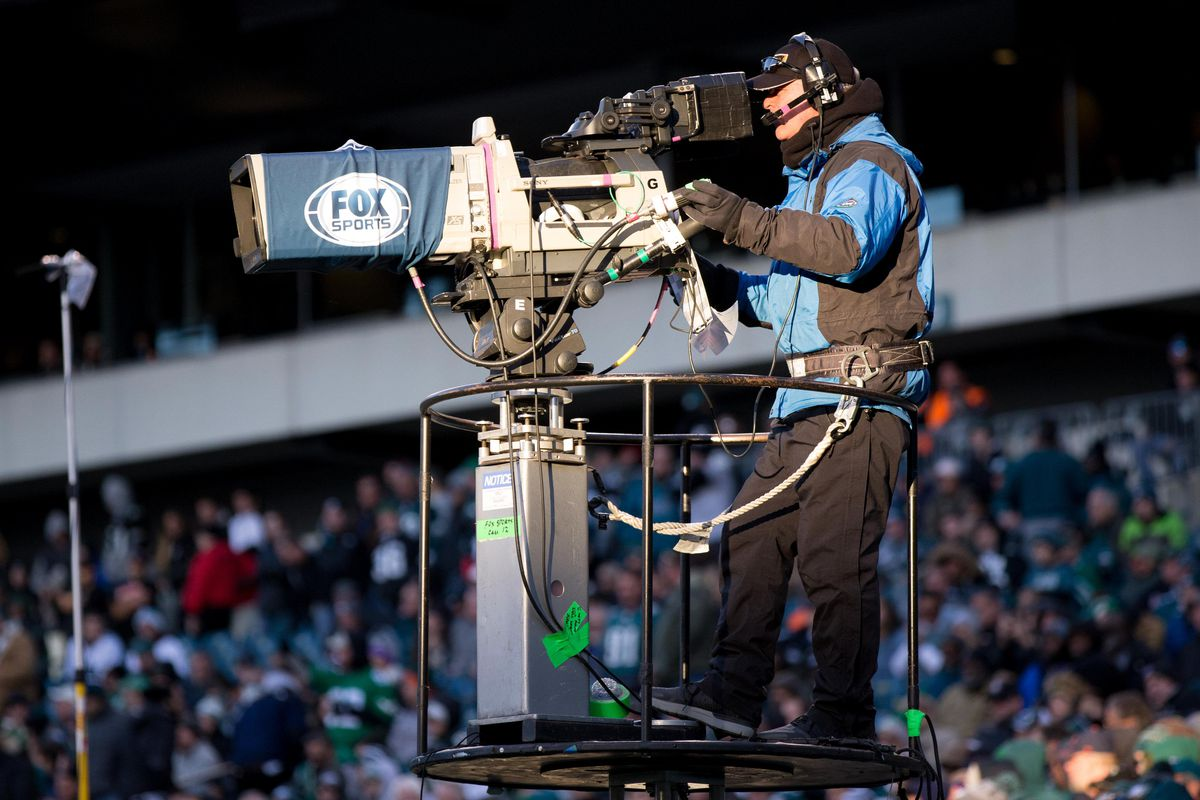 A Fox television camera during a game between the Philadelphia Eagles and the Chicago Bears at Lincoln Financial Field.