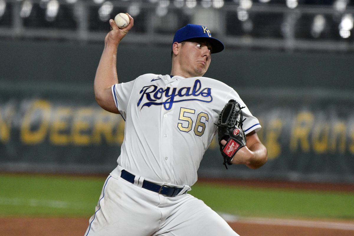 Brad Keller throws a pitch
