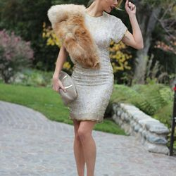"""Kier of <a href=""""http://www.fashionaddict.la""""target=""""_blank"""">Fashion Addict</a> is wearing a vintage dress, fur and bag, Aldo shoes and Nordstrom earrings."""