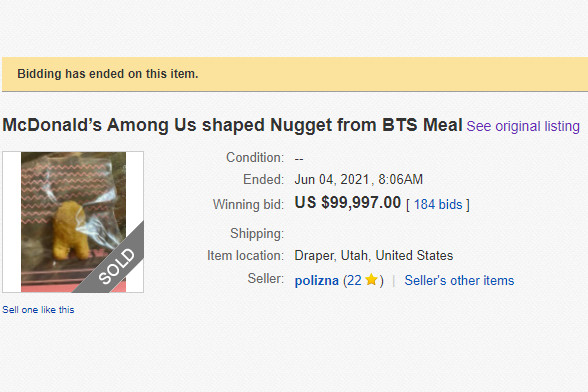 A very sus chicken nugget shaped like an Among Us crewmate sells for  $99,997 on eBay - The Verge