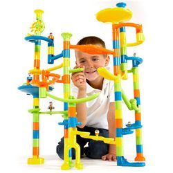 Keep those little fingers busy (and out of chaos) Christmas day building the <b>Marble Run 103-Piece Set</b>. With colorful pieces and tracks that turn, spin and drop through, you'll probably find it just as fun to help them build amazing structures. The