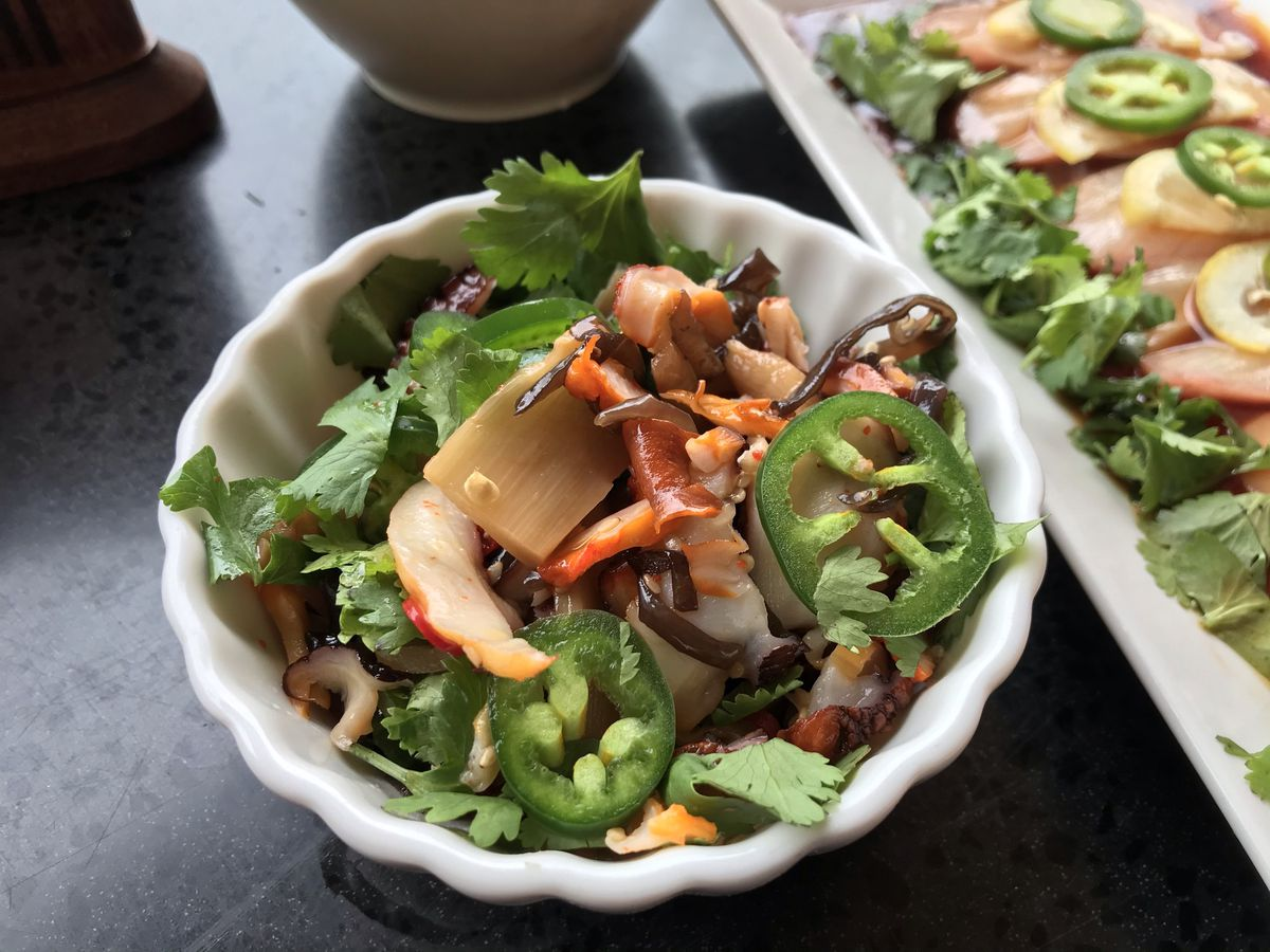 A small dish of octopus salad