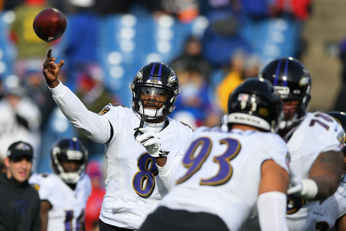 Baltimore Ravens quarterback Lamar Jackson warms up prior to the game against the Buffalo Bills at New Era Field.