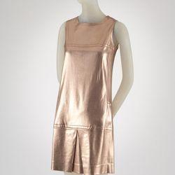 Paraphernalia dress, copper lamé knit, circa 1967, USA, gift of Mrs. Ulrich Franzen.
