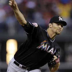 Miami Marlins' Josh Johnson pitches in the first inning of a baseball game against the Philadelphia Phillies, Wednesday, April 11, 2012, in Philadelphia.