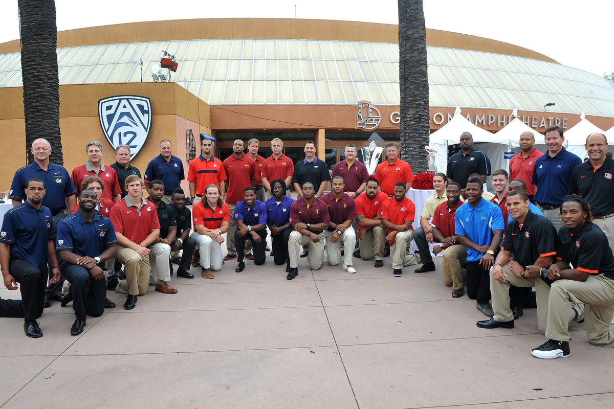 July 24, 2012; Los Angeles, CA, USA;    Players and coaches pose for a photo before the start of PAC-12 Media Day at Universal Studios Hollywood. Mandatory Credit: Jayne Kamin-Oncea-US PRESSWIRE
