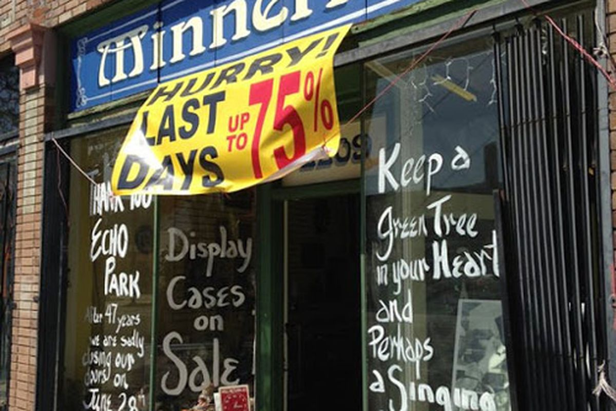 """Image via <a href=""""http://www.theeastsiderla.com/2014/06/storefront-report-long-time-echo-park-antiques-shop-to-ring-up-its-last-sale/"""">Eastsider LA</a>"""