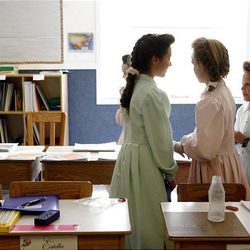 Fourth-grade girls in the Fundamentalist LDS Church talk with each other March 23 in their classroom on the YFZ Ranch near Eldorado, Texas.