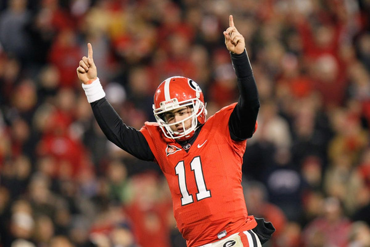 ATHENS GA - NOVEMBER 27:  Quarterback Aaron Murray #11 of the Georgia Bulldogs reacts after scoring a touchdown against the Georgia Tech Yellow Jackets at Sanford Stadium on November 27 2010 in Athens Georgia.  (Photo by Kevin C. Cox/Getty Images)