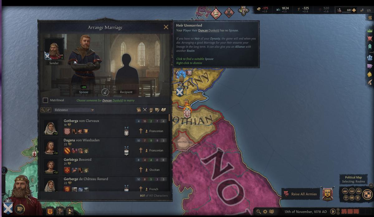 The arrange marriage screen in Crusader Kings 3